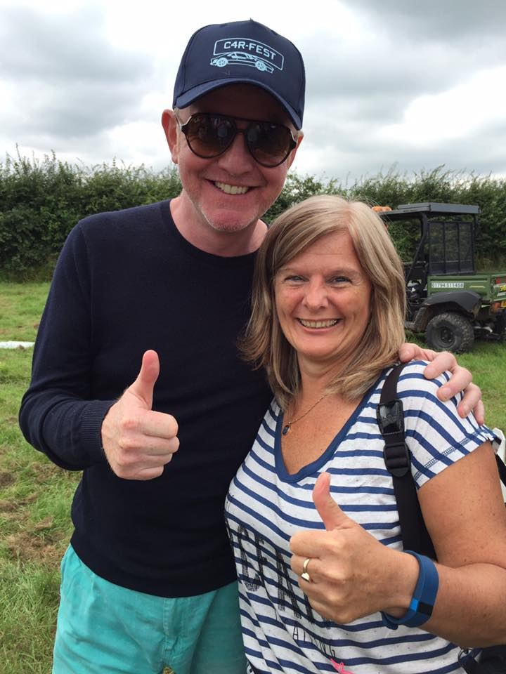 Jane Sutton, mum of Stephen Sutton MBE with Chris Evans at Carfest North, where Champion was announced to thousands of attendees